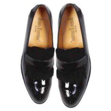 John Foster Patent Nubuck Fringe - Black,Mens Shoe