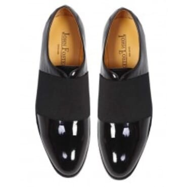 John Foster Patent WholeCut Elastic Oxfords-Black,Mens Shoe
