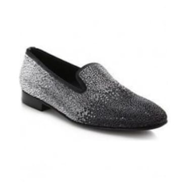 LOUIS LEEMAN BLACK CRYSTAL SLIPPER