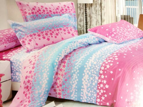 Pink and Blue Print Bed sheet with 4 Pillow Cases