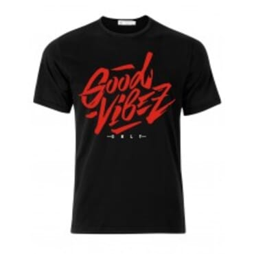 City men's top shirt with a high quality No Bad Vibes print Tee (Red)