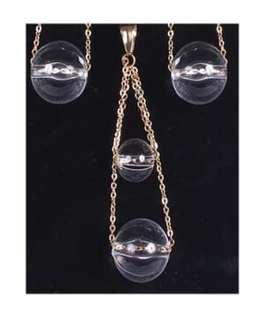 Double Glass Ball Drop Earrings & Pendant