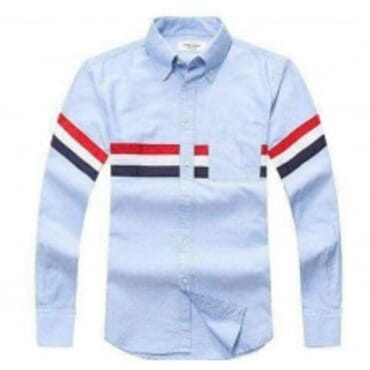 LONG SLEEVE WITH GROSGRAIN ARMBANDS IN LIGHT BLUE OXFORD II
