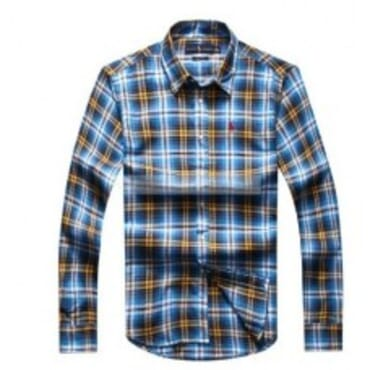 Ralph Lauren Checkered- Blue, Yellow & White,Longsleeve Shirt,
