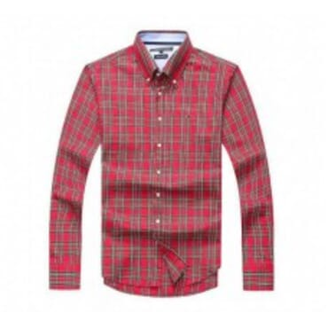 tommy Hilfiger Mens Cotton Shirts- Reddish black