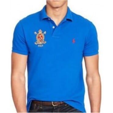Blue Custom-Fit Mesh,Polo Shirt,