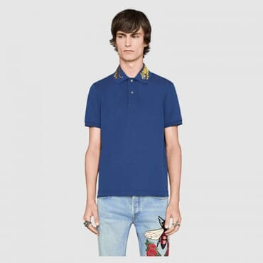 Cotton ,polo, with tiger embroidery-Blue