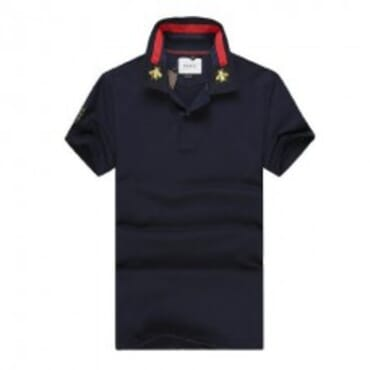 Cotton ,polo, with tiger embroidery-Navy Blue