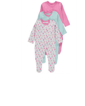 ASSORTED BABY  SLEEPSUIT   BY GEORGE  UK  (3-in-1 PACK)