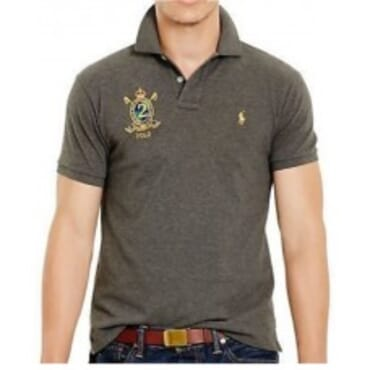 Grey Custom-Fit Mesh ,Polo Shirt,