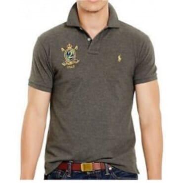 Grey Custom-Fit Mesh ,Polo Shirt,