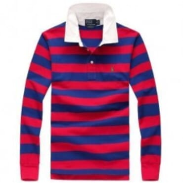 PRL STRIPED SMALL PONY LONGSLEEVE POLO-BLUE/RED