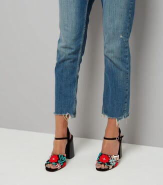 New Look Embroidered Block Heel Sandals