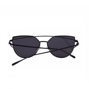 Flat ,Metal Aviator Sunglasses, - Black