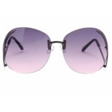 Metal Drop Temples Sunglasses- Grey & Pink