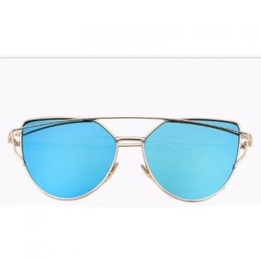 Metal Mirror Aviator Sunglasses - Blue
