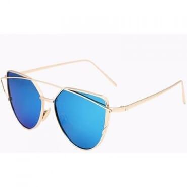 Metal Mirror Aviator Sunglasses - Blue