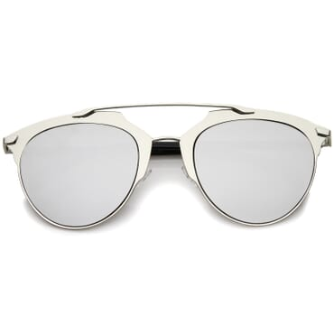 Metal Mirror Aviator Sunglasses- Silver