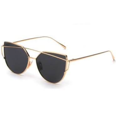 Metal Mirror Sunglasses - Black & Gold