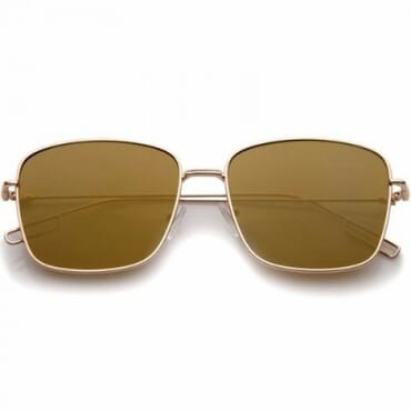 Modern Wire Flat Lens Sunglasses- Gold