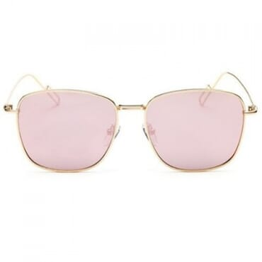 Modern Wire Flat Lens Sunglasses- Peach