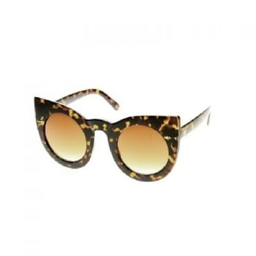Posh Kollect Round Oversized ,Cat Eye Sunglasses, - Tortoise Amber
