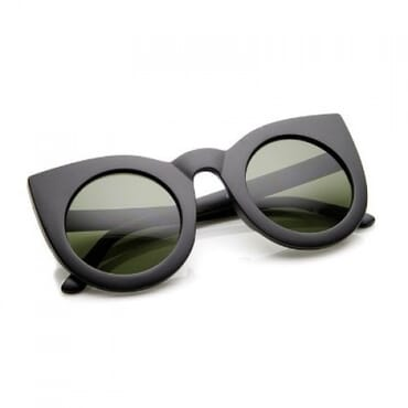 Round Cat Eye Sunglasses - Matte Black