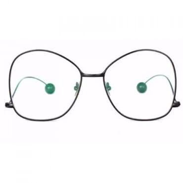 Round Metal Clear Glasses - Black