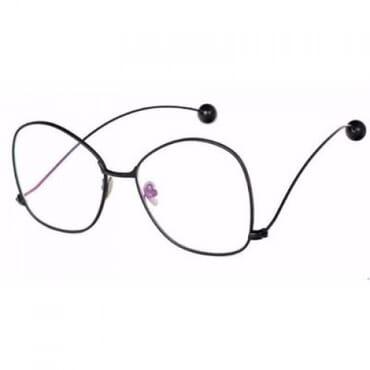 Round Metal Clear Glasses - Black