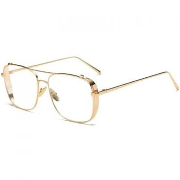 Classic Clear, Aviator Glasses, - Gold