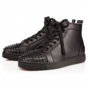 CHRISTIAN LOUBOUTIN MEN LOU SPIKES MENS BLACK ,LEATHER SNEAKERS,