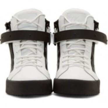 GIUSEPPE ZANOTTI WHITE AND BLACK LEATHER MAY BIREL,SNEAKERS