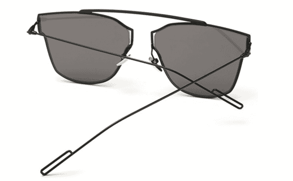 Black Modern Flat Lens Sunglasses