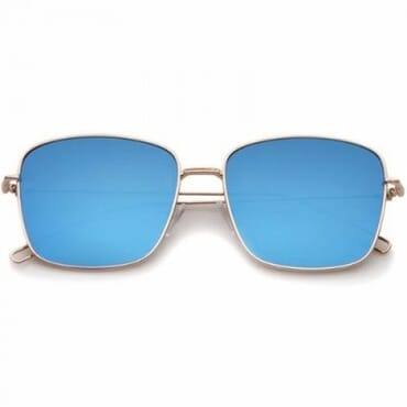 Blue Modern Wire Flat Lens Sunglasses