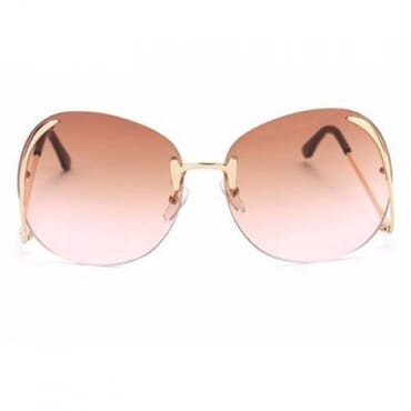 Metal Drop Temples Sunglasses- Brown