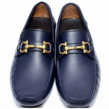 FERRAGAMO BLUE PARIGI LEATHER DRIVERS,Mens Shoe