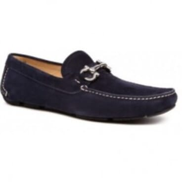 FERRAGAMO NAVY BLUE PARIGI SUEDE DRIVERS,Mens Shoes