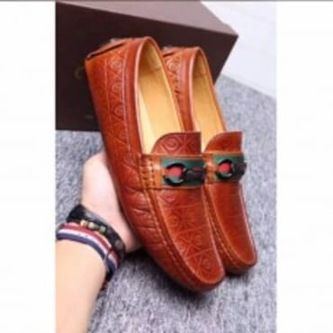 Patterned Leather Loafers,Mens Shoes