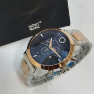 2 tone Mont Blanc with black dial Chain Wristwatch