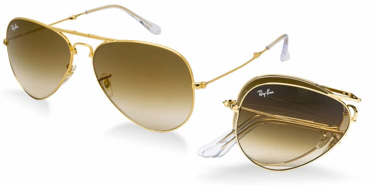 RAY BAN,FOLDING AVIATOR SUNGLASSES, ARISTA CRYSTAL GRADIENT LENS