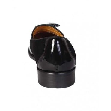 John Foster Patent Suede Fringe Tassel -Black,Mens Shoe
