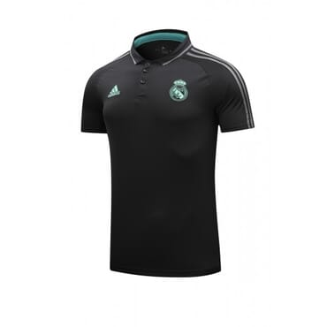 REAL MADRID 2017/2018 POLO,| BLACK & AQUA BLUE