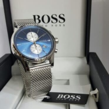 Boss Wristwatch with a quartz movement and central second hand-Blue Dial,Chain Wristwatch,