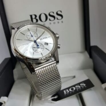 Boss Wristwatch with a quartz movement and central second hand-White Dial,Chain Wristwatch
