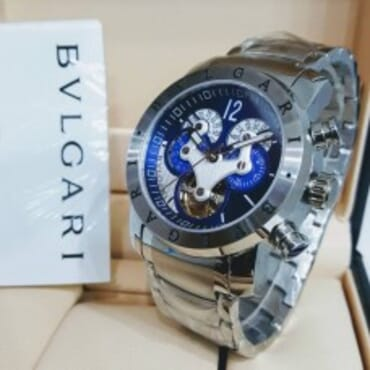 Bvlgari Silvertone Chain Chronograph wih Blue Dial,Chain Mens watch