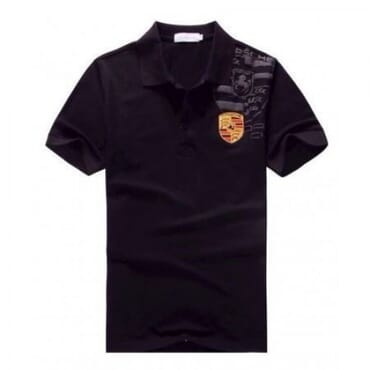 Porsche Crest ,Men's Polo Shirt, - Black
