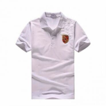 Porsche Crest ,Men's Polo Shirt, - White