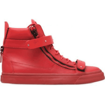 GIUSEPPE ZANOTTI RED PLATED STRAP DOUBLE ZIP HIGH TOP,SNEAKERS