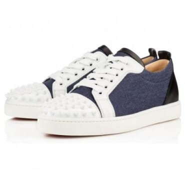 LOUIS JUNIOR SPIKES FLAT BLUE DENIM,Mens Shoe
