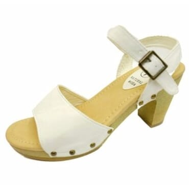 Ladies Open-Toe Block Heel Ankle Strap  Sandals - White